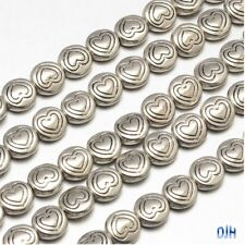 50pcs Antique Silver Heart Disc Spacer Beads Tibetan Style 6.5x3mm Hole 1mm