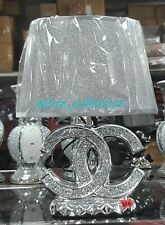 Crushed Crystal Diamond Silver LED Lamp Bling Table Lamp And Shade FREE LED BULB