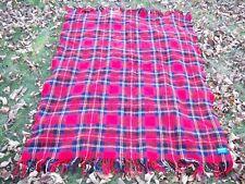 "Vintage Pendleton 100% Wool Plaid Blanket Throw Red Stadium 45 x 56"" with Fringe"