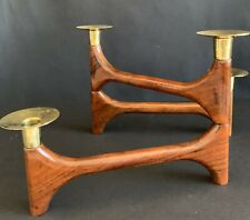 Mid Century Teak Candle Holder 3 Wing With 4 Candles Flexible Wings