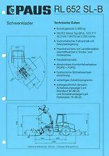 Prospekt 2001 Technische Daten Paus RL 652 SL-B Radlader wheel loader specificat