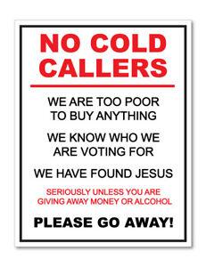 FUNNY NO COLD CALLERS  STICKER JUNK MAIL DOOR TO DOOR MARKETING BUSINESS