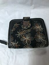 "Black Leather Trim & Embroidered Anna Sui Wallet 4.5"" Zip Around Nice EUC"