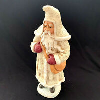 Vintage Style Santa Claus Father Christmas Crackle Finish Glitter