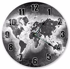 "10.5"" GREY WORLD MAP CLOCK - Large 10.5"" Wall Clock - Home Décor Clock - 3224"
