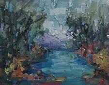 More details for river trees landscape oil painting by artist vivek mandalia impressionism 8 x 10