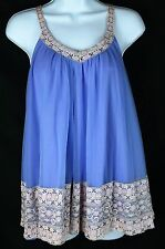 INTIME VTG Purple Blue nightgown Lingerie Teddie Sz Medium M Lace Sissy EUC SEXY