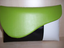 OVER SIZED  LIME GREEN, BLACK & WHITE faux leather clutch bag, fully lined.