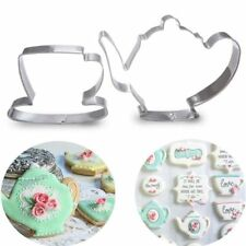 2Pcs Stainless Steel TeaCup Tea Pot Cookie Cutter DIY Biscuit Stamps Baking Tool
