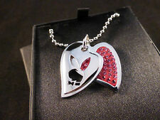 """Playboy Super Cool """"Dog Tag"""" Crystal Pink Heart & Silver Bunny Necklace Gift Box"""