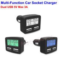 LCD Dual USB Phone Charger 12V 24V Car Cigarette Lighter Thermometer Voltmeter
