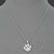 Thin Silver Chain Animal Paw Print Encrusted Clear Rhinestones Pendant Necklace