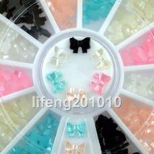 6 colors beauty 3d bow tie wheel acrylic nail art glitter decoration tools NEW
