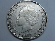 SPAIN 1893 PGV 5 PESETAS ALFONSO XIII MADRID SILVER COIN