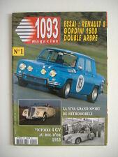 1093 magazine n°1 RENAULT 8 GORDINI 1500 double arbre 1967-VIVA GRAND SPORT