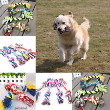 Trendy Pet Puppy Dogs Double Knot Cotton Ropes Chews Toy Ball Play Braided Bone