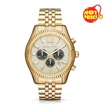 BRAND NEW MICHAEL KORS MK8494 MENS LEXINGTON YELLOW GOLD CRYSTAL PAVE WATCH