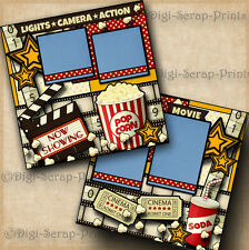 NOW SHOWING MOVIE premade scrapbook pages paper piecing LAYOUT family DIGISCRAP
