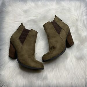 Mix No 6 Vincee Chelsea Boot Size 8 Vegan Suede Ankle Booties Olive Brown Shoe