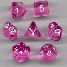 NEW RPG Dice Set of 7 - Translucent Pink D4 D6 D8 D10 D12 D20 D00-90