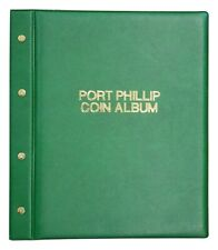 PORT PHILLIP PADDED COVER COIN ALBUM 6 DIFFERENT PAGE SIZE-283 COINS EXPANDABLE
