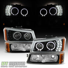 Black 2003-2006 Chevy Silverado 1500 LED Halo Projector Headlights+Bumper Lights