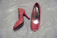 womens pulse pink plaid fabric open toe button heels shoes size 6