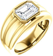 1.50 carat Emerald cut Diamond H Engagement Solitaire Mens 14K Yellow Gold Ring