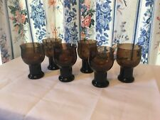 SET OF SIX ANTIQUE BROWN LENOX CHAMPAGNE SHERBET CRYSTAL GLASSES