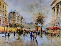 Paris Street Scene Flower Shop, Сristof Vevers Signed, Oil Painting On Canvas