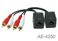2-RCA Stereo (L/R) to RJ45 Over Ethernet Extender Cable, up to 250ft, Pack of 2