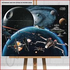 Star Wars Framed Canvas Print Death Star X-Wing Tie Fighter Space Battle Planets