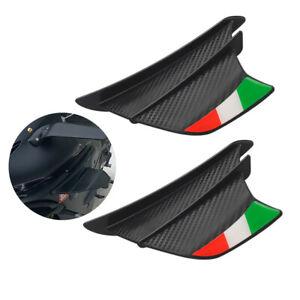 2PCS Motorcycle Matte Carbon Fiber Side Winglets Wing Kit Spoiler Air Deflectors