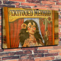 """Tattooed Mermaid Freakshow Printed Canvas Picture A1.30""""x20 30mm Deep Home Decor"""