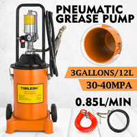 3 Gallon Grease Pump Air Pneumatic 12L Wheels 50:1 Pressure Ratio Spray Gun