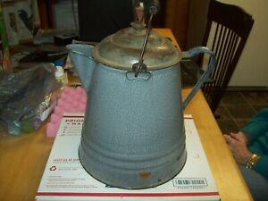 Vintage Graniteware Gray Enamel Coffee Pot