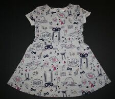 NEW Gymboree Girls 3T 5T Gray Doodles Print Skater Dress Cosmic Club Bunny Space