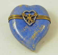 New French Limoges Trinket Box Beautiful Blue Heart with Jeweled Angel Clasp