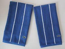 New Lacoste Sport Hand Towels~2 Piece Set~Indigo Blue & White Stripes Crocodile