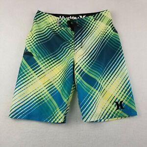 Hurley Swim Board Shorts SIze 14 28  Green Yellow Geometric Drawstring Youth