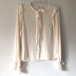 Line & Dot Haylee Ivory Button Down Blouse Womens XS
