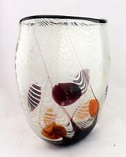 "13"" Hand Blown Glass Art Vase Bowl White Black Red Striped Decorative"