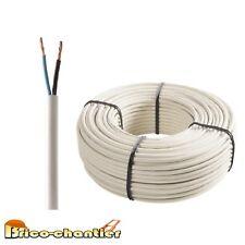 câble électrique blanc souple 2 x 0,75 mm² H03 VVH2 vente au mètre linéaire NF
