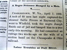 1882 newspaper NEGRO Man LYNCHED at CHARLESTOWN West Virginia by White mob