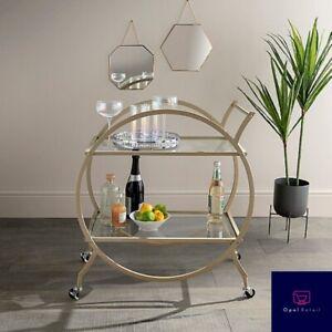 Art Deco Gold Metal Trim Drinks Trolley Cocktails Afternoon Tea 2 Glass Shelves
