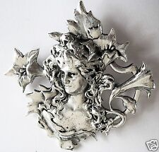 ART NOUVEAU STYLE SILVER LILY LADY HEAD BROOCH / PIN NEW