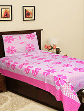 Homefab India Cotton Single Bed-Sheet with 1 Pillow Cover (Single142)