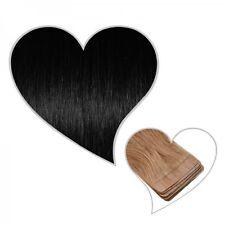 10 Tape-On-Extensions schwarz#01 Wefts 45 cm Echthaar schwarze Skin Weft Tressen