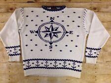 Vtg Eddie Bauer Sweater Men Large Nautical Sailing Crewneck Cotton Fisherman 90s