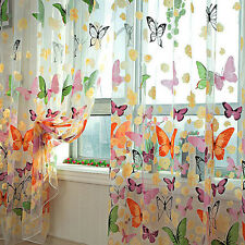 Butterfly Sheers Curtains Voile Tulle Floral Window Door Curtain Scarf ValanceSL